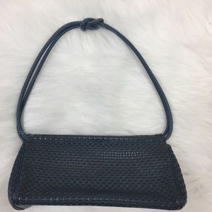 The Sak Teal Woven Leather Purse Shoulder Bag
